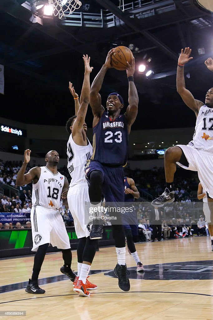 <a gi-track='captionPersonalityLinkClicked' href=/galleries/search?phrase=Casey+Prather&family=editorial&specificpeople=7358715 ng-click='$event.stopPropagation()'>Casey Prather</a> #23 of the Bakersfield Jam drives to the basket against the Austin Spurs in game two of the 2015 D-League playoffs at the Cedar Park Center on April 11, 2015 in Cedar Park, Texas.