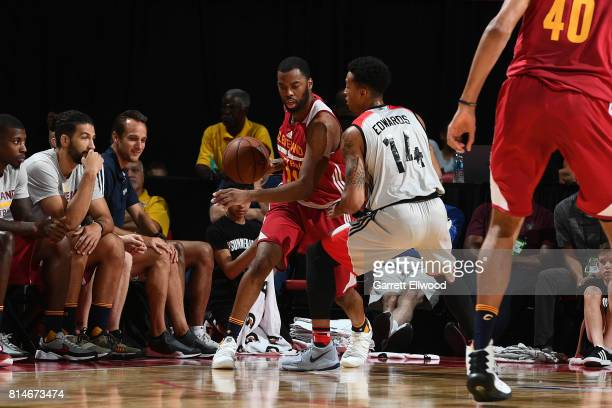 Casey Prather of the Cleveland Cavaliers handles the ball against the Toronto Raptors on July 14 2017 at the Thomas Mack Center in Las Vegas Nevada...