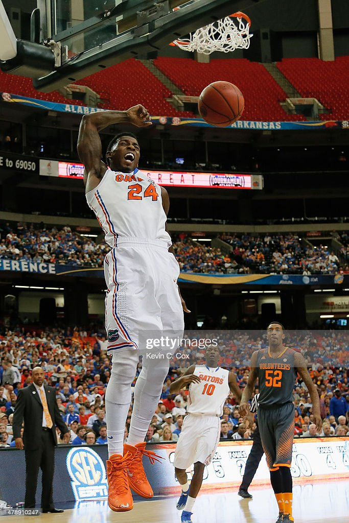 Casey Prather #24 of the Florida Gators dunks the ball against the Tennessee Volunteers during the semifinals of the SEC Men's Basketball Tournament at Georgia Dome on March 15, 2014 in Atlanta, Georgia.