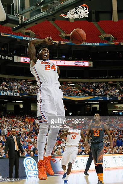 Casey Prather of the Florida Gators dunks the ball against the Tennessee Volunteers during the semifinals of the SEC Men's Basketball Tournament at...