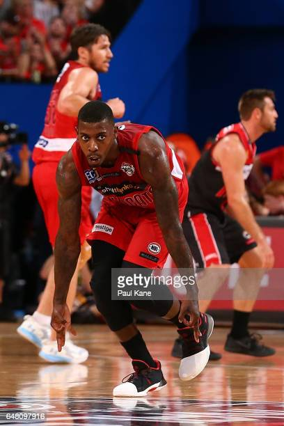 Casey Prather of the Wildcats celebrates a basket during game three of the NBL Grand Final series between the Perth Wildcats and the Illawarra Hawks...