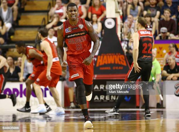 Casey Prather of the Wildcats celebrates a basket during game two of the NBL Grand Final series between the Perth Wildcats and the Illawarra Hawks at...