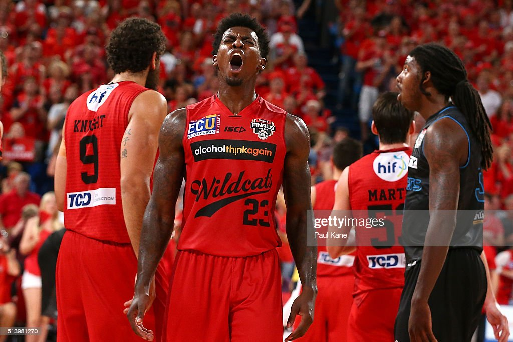 <a gi-track='captionPersonalityLinkClicked' href=/galleries/search?phrase=Casey+Prather&family=editorial&specificpeople=7358715 ng-click='$event.stopPropagation()'>Casey Prather</a> of the Wildcats celebrates after being substituted out of the game during game three of the NBL Grand Final series between the Perth Wildcats and the New Zealand Breakers at Perth Arena on March 6, 2016 in Perth, Australia.