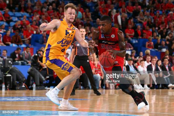 Casey Prather of the Wildcats drives to the basket against Brad Newley of the Kings during the round 19 NBL match between the Perth Wildcats and the...