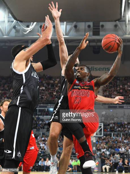 Casey Prather of the Wildcats drives to the basket during the round 19 NBL match between Melbourne United and the Perth Wildcats at Hisense Arena on...