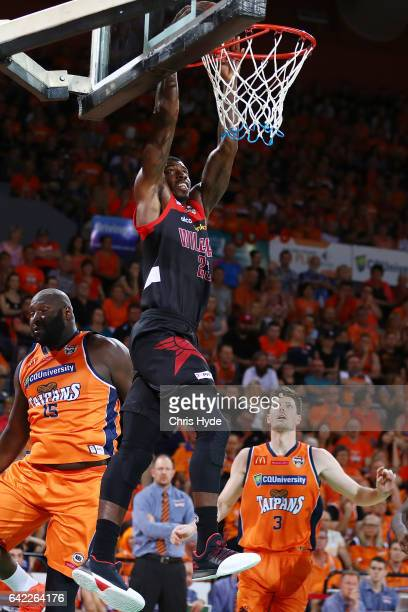 Casey Prather of the Wildcats dunks during the NBL Semi Final Game 1 match between Cairns Taipans and Perth Wildcats at Cairns Convention Centre on...