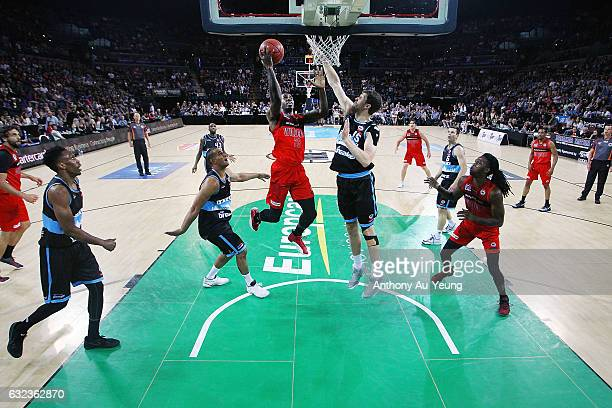 Casey Prather of the Wildcats goes to the basket against Rob Loe of the Breakers during the round 16 NBL match between the New Zealand Breakers and...