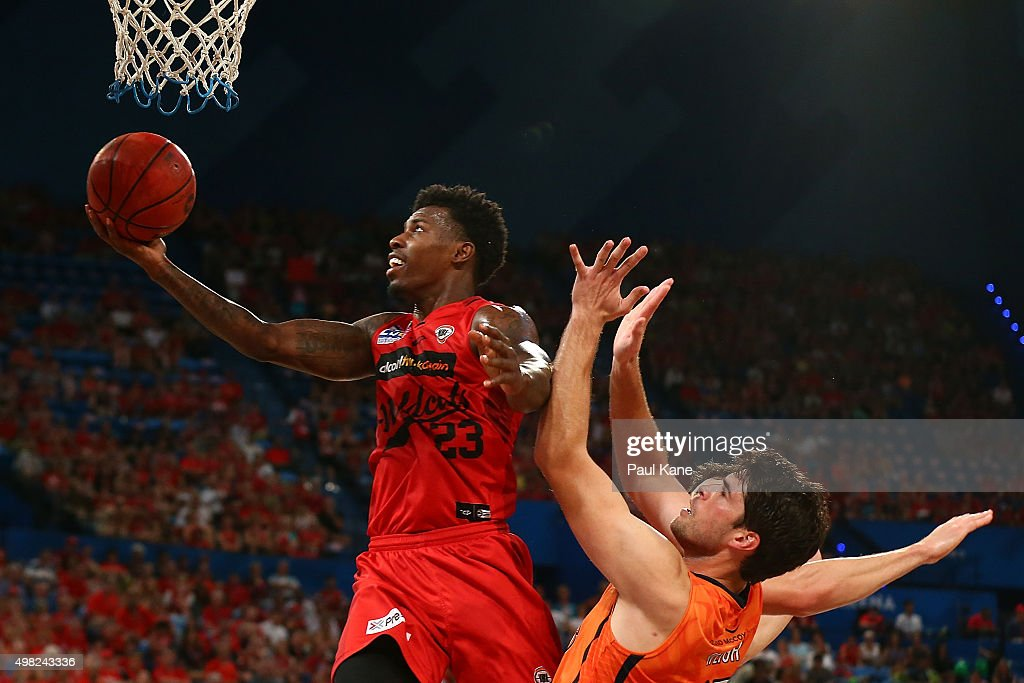 <a gi-track='captionPersonalityLinkClicked' href=/galleries/search?phrase=Casey+Prather&family=editorial&specificpeople=7358715 ng-click='$event.stopPropagation()'>Casey Prather</a> of the Wildcats lays up during the round seven NBL match between the Perth Wildcats and the Cairns Taipans at Perth Arena on November 22, 2015 in Perth, Australia.