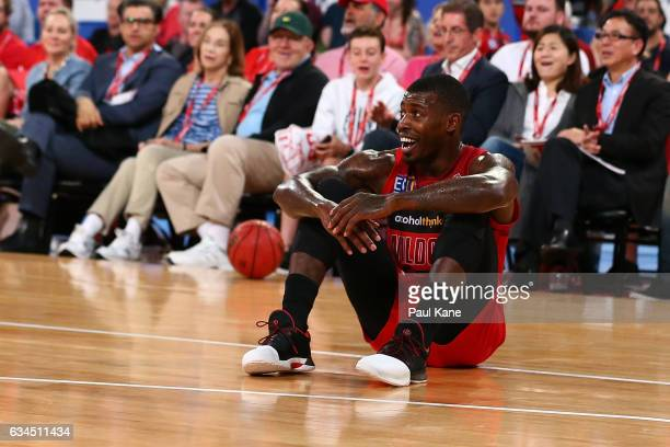 Casey Prather of the Wildcats looks on after being called for a foul against Brad Newley of the Kings during the round 19 NBL match between the Perth...