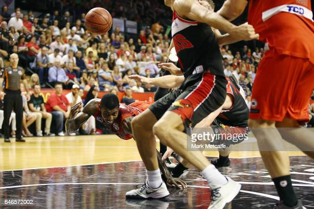 Casey Prather of the Wildcats passes as he is fouled during game two of the NBL Grand Final series between the Perth Wildcats and the Illawarra Hawks...