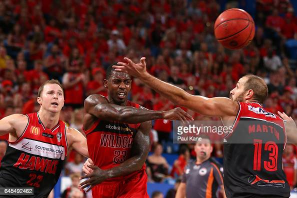 Casey Prather of the Wildcats passes the ball during game one of the NBL Grand Final series between the Perth Wildcats and the Illawarra Hawks at...