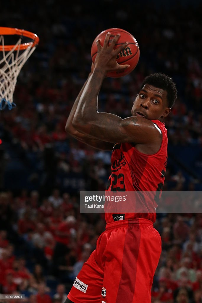 <a gi-track='captionPersonalityLinkClicked' href=/galleries/search?phrase=Casey+Prather&family=editorial&specificpeople=7358715 ng-click='$event.stopPropagation()'>Casey Prather</a> of the Wildcats pulls down a rebound during the round two NBL match between the Perth Wildcats and the New Zealand Breakers at the Perth Arena on October 16, 2015 in Perth, Australia.