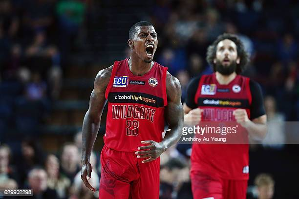 Casey Prather of the Wildcats reacts during the round 11 NBL match between New Zealand Breakers and Perth Wildcats at Vector Arena on December 15...