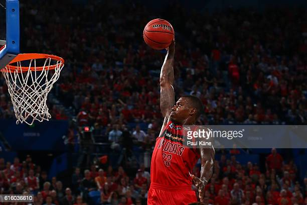 Casey Prather of the Wildcats sets to dunk the ball during the round three NBL match between the Perth Wildcats and the Illawarra Hawks at Perth...