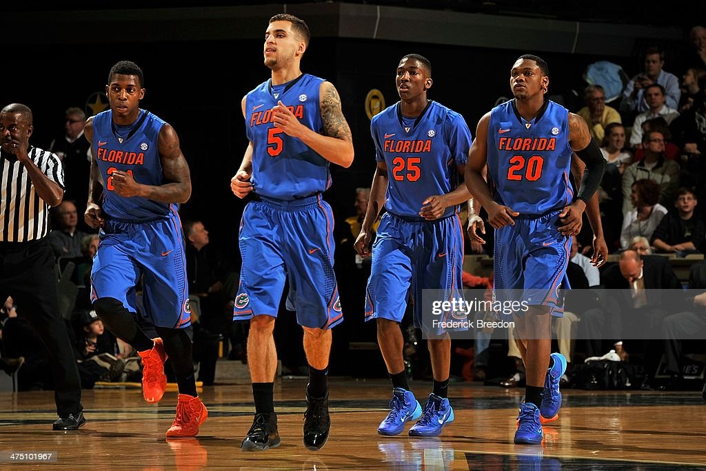 Casey Prather #24, <a gi-track='captionPersonalityLinkClicked' href=/galleries/search?phrase=Scottie+Wilbekin&family=editorial&specificpeople=7348781 ng-click='$event.stopPropagation()'>Scottie Wilbekin</a> #5, DeVon Walker #25, and Michael Frazier II #20 of the Florida Gators play against the Vanderbilt Commodores at Memorial Gym on February 25, 2014 in Nashville, Tennessee.