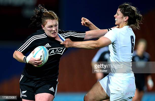 Casey Robertson of the Black Ferns is tackled by Sarah Hunter of Englnad during game two of the international series between the New Zealand Black...