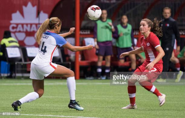 Casey Short of the United States and Jessie Fleming of Canada battles for the loose ball during International Friendly soccer match action at BC...