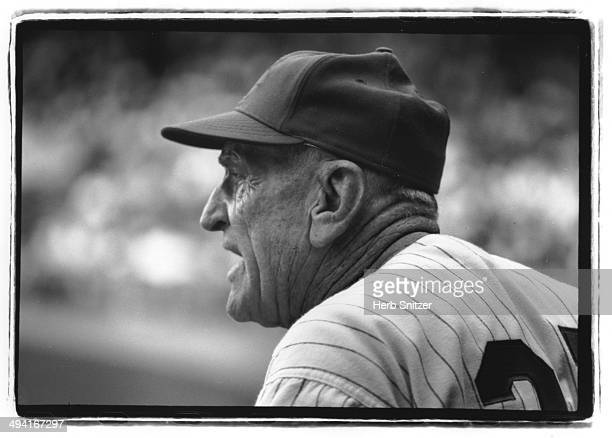 Casey Stengel contemplates his options in 1963 in Flushing New York