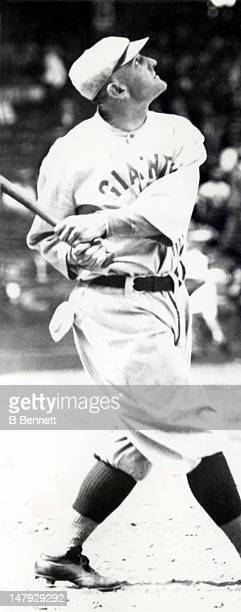 Casey Stengel of the New York Giants swings at the pitch during an MLB game circa 1922 at the Polo Grounds in Manhattan New York