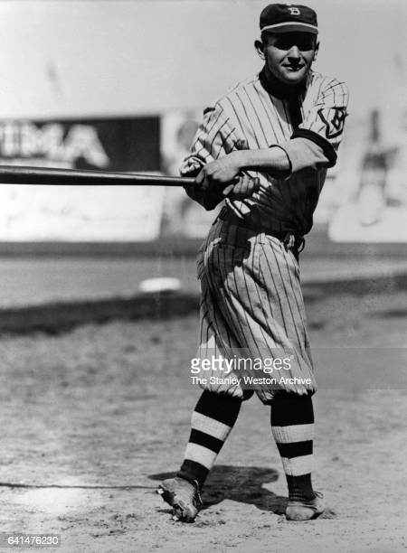 Casey Stengel swings the bat for the camera in Ebbets Field New York New York 1913 This was Stengel'u2019s first full major league season as a player...