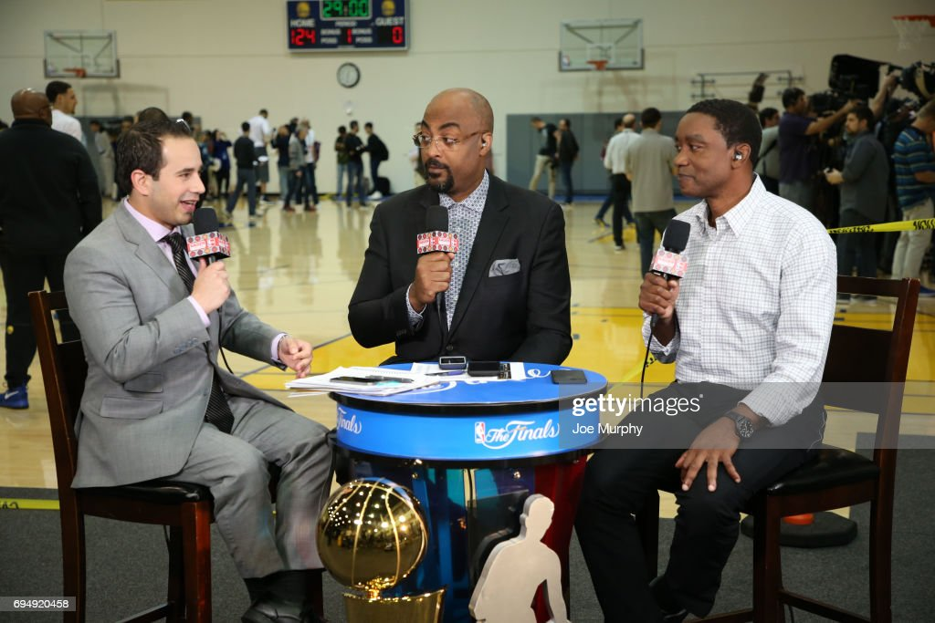 Casey Stern, Dennis Scott and Isiah Thomas of NBA TV discusses the Cleveland Cavaliers during practice and media availability as part of the 2017 NBA Finals on June 11, 2017 at the Warriors Practice Facility in Oakland, California.