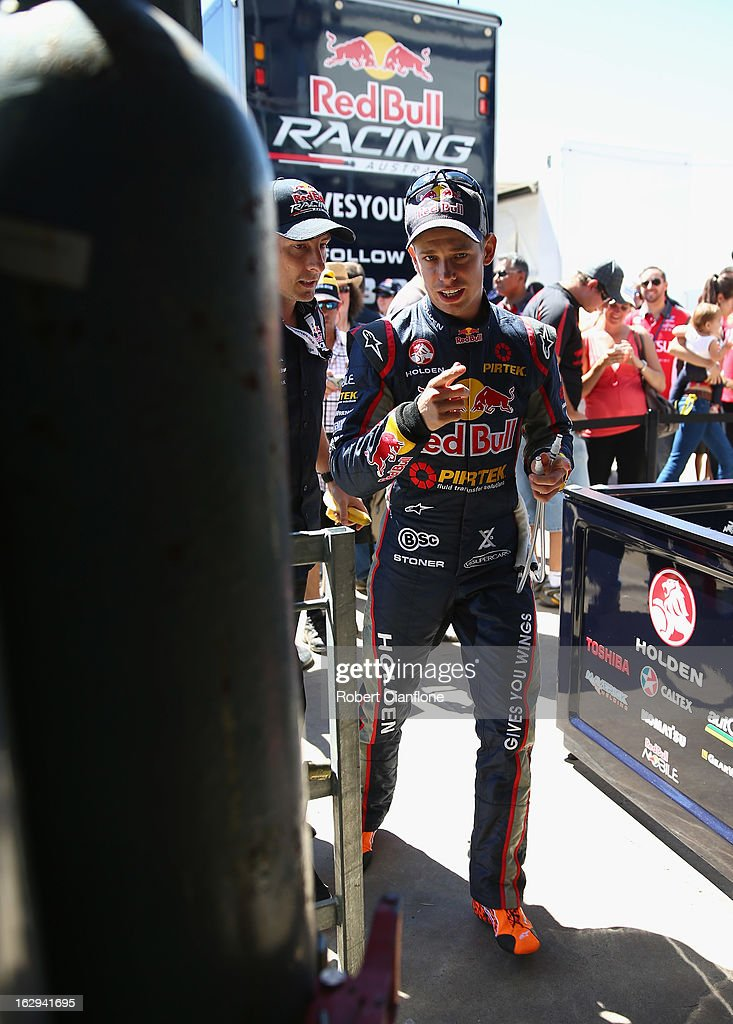 <a gi-track='captionPersonalityLinkClicked' href=/galleries/search?phrase=Casey+Stoner&family=editorial&specificpeople=563465 ng-click='$event.stopPropagation()'>Casey Stoner</a> driver of the #27 Red Bull Pirtek Holden prepares for race two for round one of the V8 Supercars Dunlop Development Series at the Adelaide Street Circuit on March 2, 2013 in Adelaide, Australia.