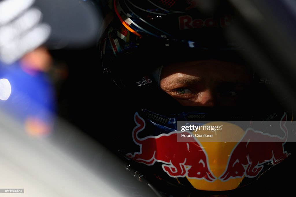 <a gi-track='captionPersonalityLinkClicked' href=/galleries/search?phrase=Casey+Stoner&family=editorial&specificpeople=563465 ng-click='$event.stopPropagation()'>Casey Stoner</a> driver of the #27 Red Bull Pirtek Holden sits in his car prior to race one of round one of the V8 Supercars Dunlop Development Series at the Adelaide Street Circuit on March 1, 2013 in Adelaide, Australia.