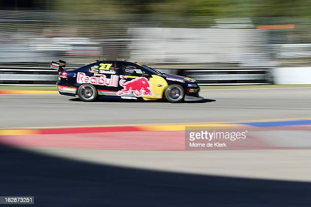 Casey Stoner drives the Red Bull Pirtek Holden during qualifying for round one of the V8 Supercars Dunlop Development Series at the Adelaide Street...