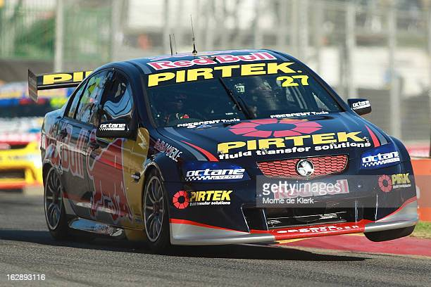 Casey Stoner drives the Red Bull Pirtek Holden during race one of the V8 Supercars Dunlop Development Series at the Adelaide Street Circuit on March...