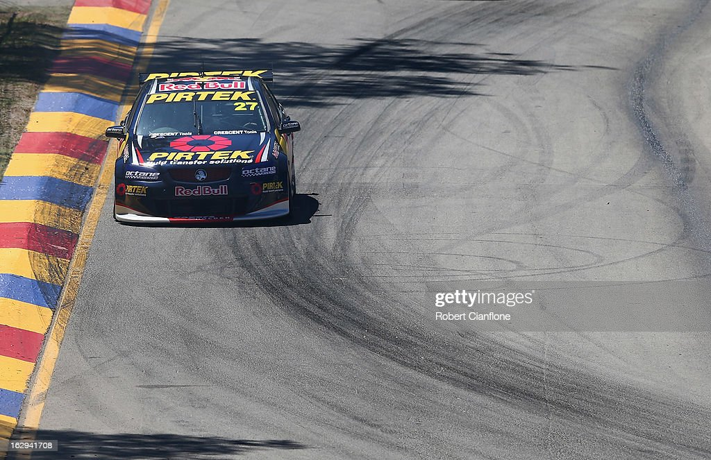 Casey Stoner drives the #27 Red Bull Pirtek Holden during race two for round one of the V8 Supercars Dunlop Development Series at the Adelaide Street Circuit on March 2, 2013 in Adelaide, Australia.