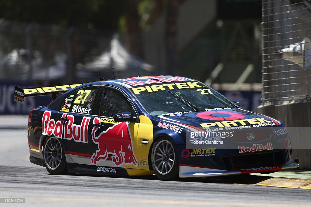 <a gi-track='captionPersonalityLinkClicked' href=/galleries/search?phrase=Casey+Stoner&family=editorial&specificpeople=563465 ng-click='$event.stopPropagation()'>Casey Stoner</a> drives the #27 Red Bull Pirtek Holden during race two for round one of the V8 Supercars Dunlop Development Series at the Adelaide Street Circuit on March 2, 2013 in Adelaide, Australia.