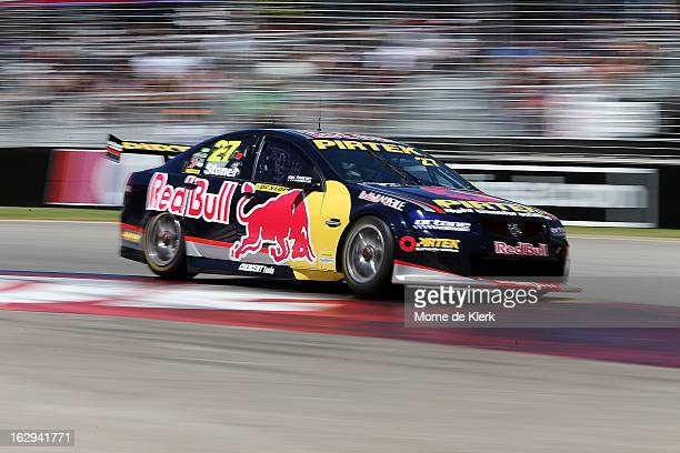 Casey Stoner drives the Red Bull Pirtek Holden during race two of the V8 Supercars Dunlop Development Series at the Adelaide Street Circuit on March...