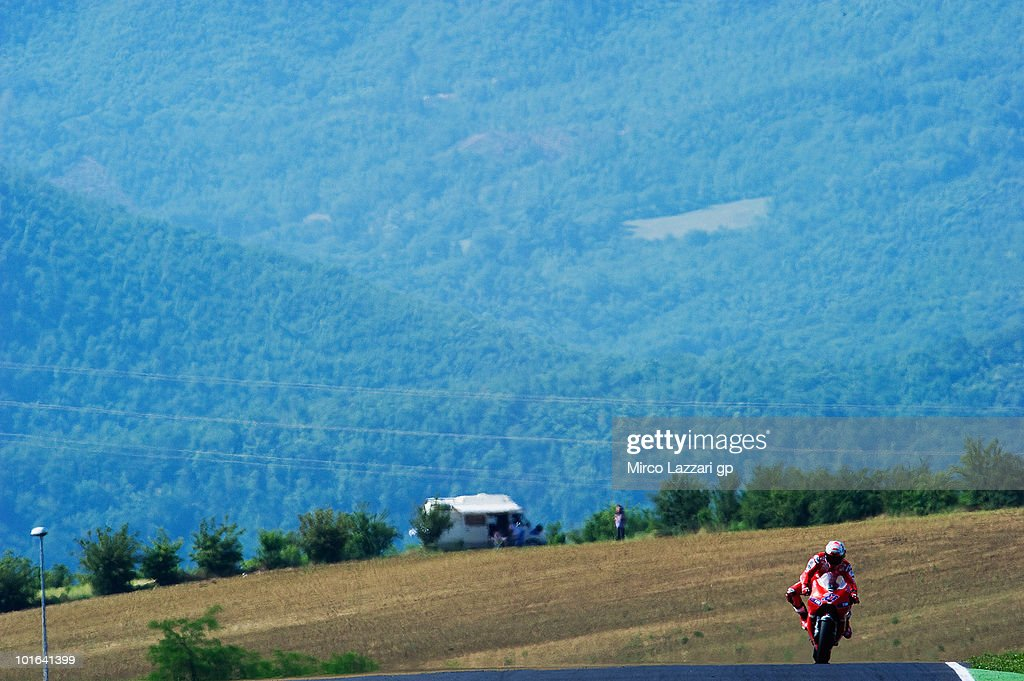 Casey Stoner of Australia and Ducati Marlboro Team heads down a straight during the qualifying practice of the Grand Prix of Italy on June 5, 2010 in Mugello Circuit near Florence, Italy.