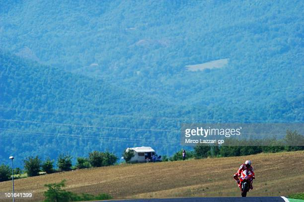 Casey Stoner of Australia and Ducati Marlboro Team heads down a straight during the qualifying practice of the Grand Prix of Italy on June 5 2010 in...