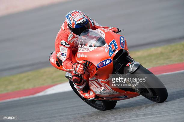 Casey Stoner of Australia and Ducati Marlboro Team heads down a straight during the testing at Sepang Circuit on February 26 2010 in Kuala Lumpur...