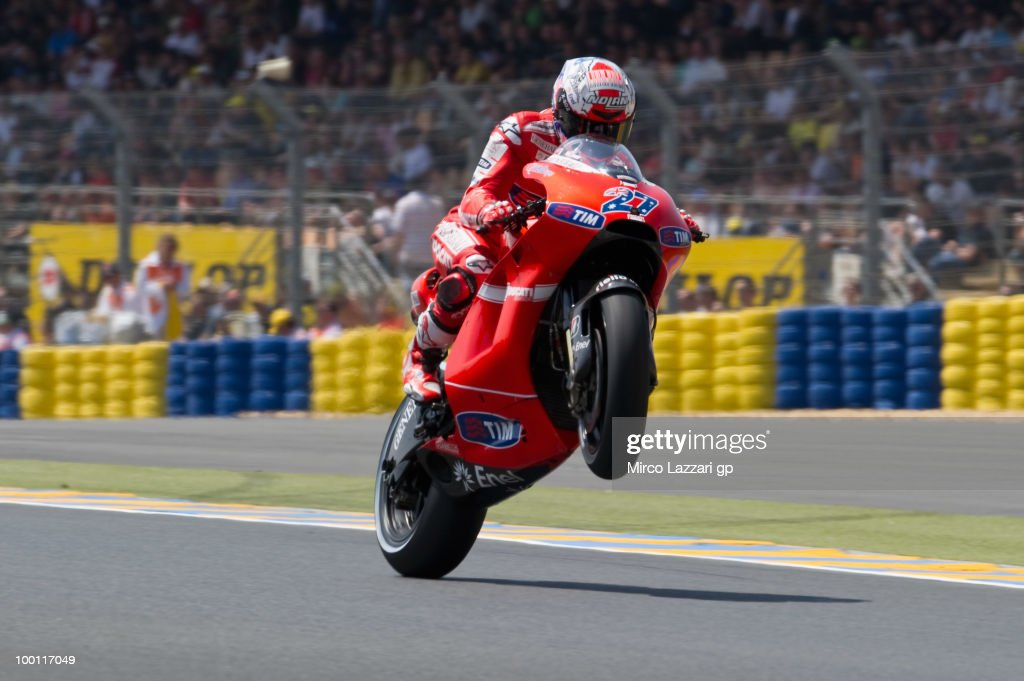 Casey Stoner of Australia and Ducati Marlboro Team lifts the front wheel during the first free practice of the MotoGP French Grand Prix in Le Mans Circuit on May 21, 2010 in Le Mans, France.