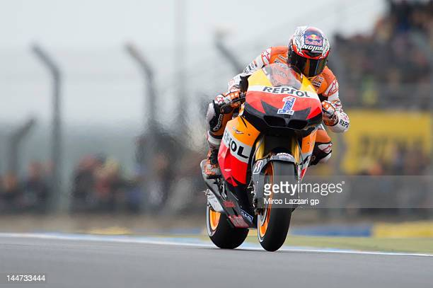 Casey Stoner of Australia and Repsol Honda Team heads down a straight during the free practice of MotoGp Of France on May 18 2012 in Le Mans France