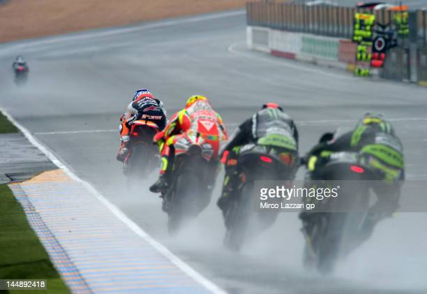 Casey Stoner of Australia and Repsol Honda Team leads the field during the French MotoGP race on May 20 2012 in Le Mans France