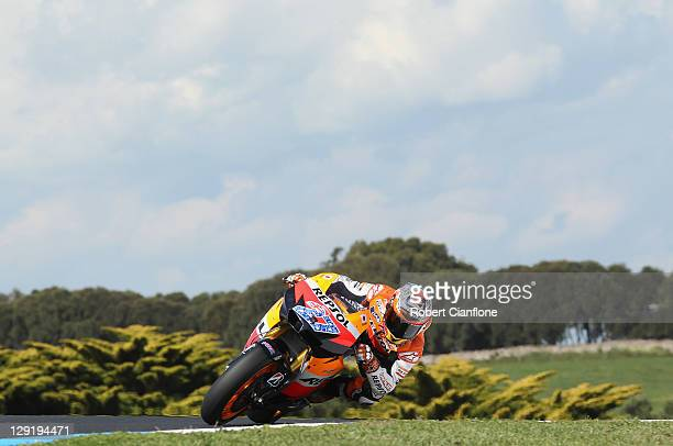 Casey Stoner of Australia rides the Repsol Honda Team Honda during practice for the Australian MotoGP which is round 16 of the MotoGP World...