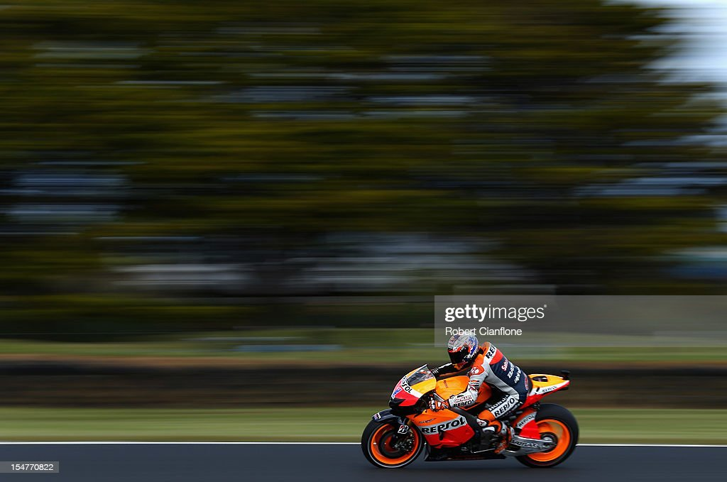Casey Stoner of Australia rides the #1 Repsol Honda Team Honda during practice for the Australian MotoGP, which is round 17 of the MotoGP World Championship at Phillip Island Grand Prix Circuit on October 26, 2012 in Phillip Island, Australia.