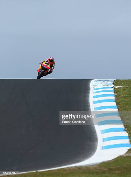 Casey Stoner of Australia rides the Repsol Honda Team Honda during qualifying for the Australian MotoGP which is round 17 of the MotoGP World...