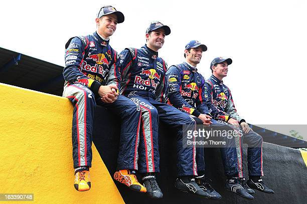 Casey Stoner of Red Bull Pirtek Holden Jamie Whincup of Red Bull Racing Australia Holden Mark Webber of Australia and Infiniti Red Bull Racing and...