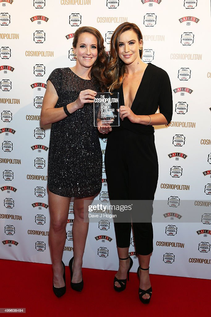 Casey Stoney (L) and Charlie Webster poses for a photo with the award for Ultimate Sports Personality during the Cosmopolitan Ultimate Women Of The Year Awards at One Mayfair on December 2, 2015 in London, England.