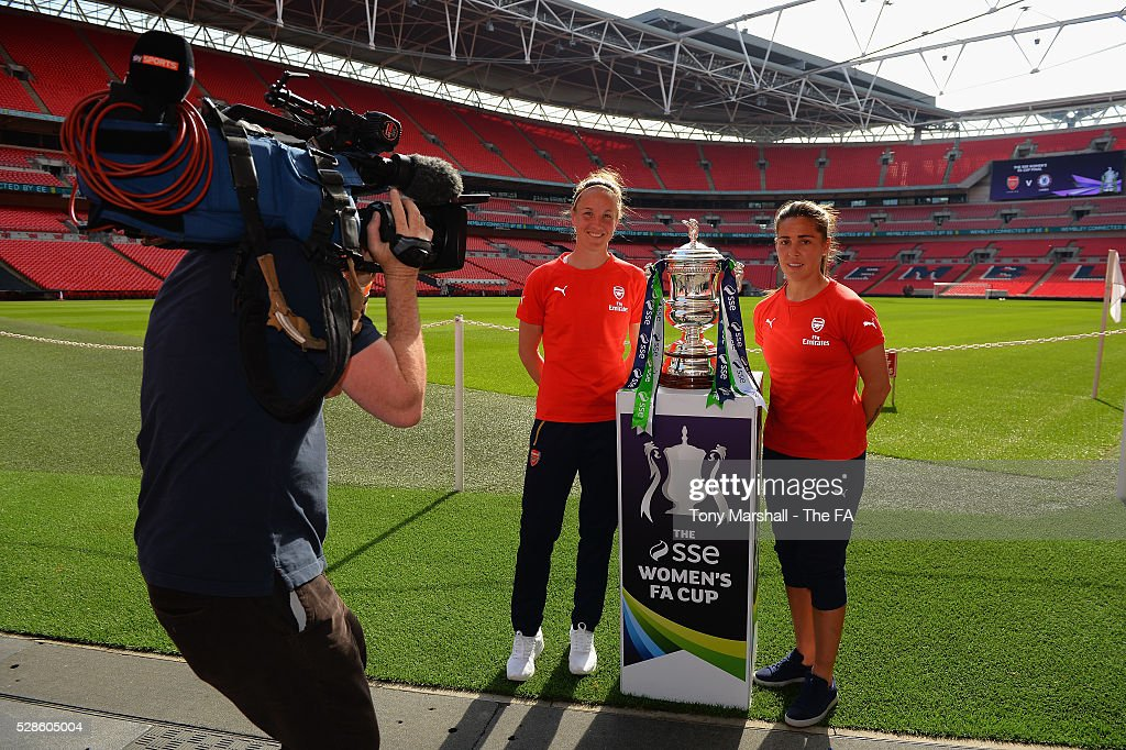 Casey Stoney and Fara Williams of Arsenal Ladies are filmed by Sky Sports during the SSE Women's FA Cup Final - Wembley Media Day at Wembley Stadium on May 6, 2016 in London, England.