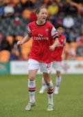 Casey Stoney of Arsenal Ladies during the match between Arsenal Ladies and Birmingham City Ladies in the UEFA Womens Champions League at The Hive on...