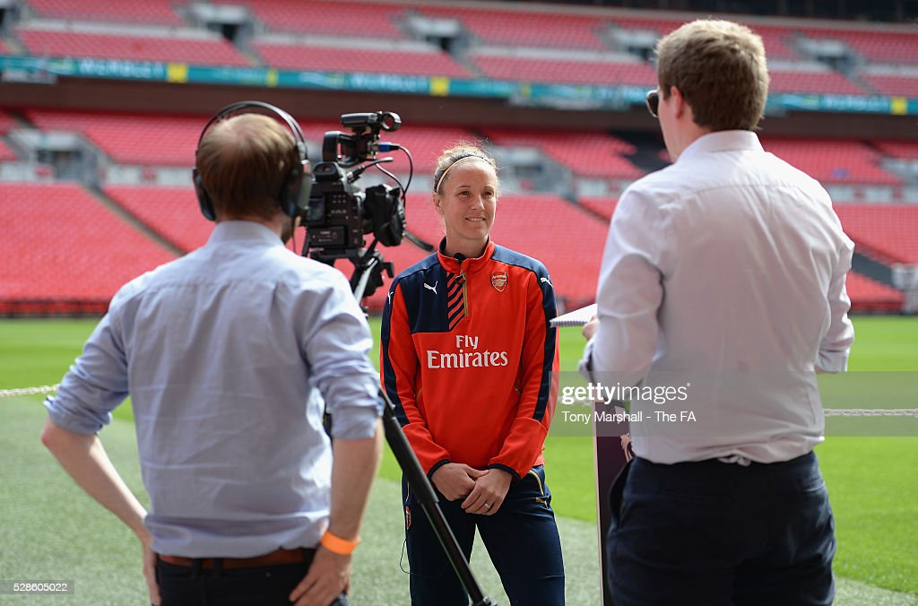 Casey Stoney of Arsenal Ladies is interviewed during the SSE Women's FA Cup Final - Wembley Media Day at Wembley Stadium on May 6, 2016 in London, England.