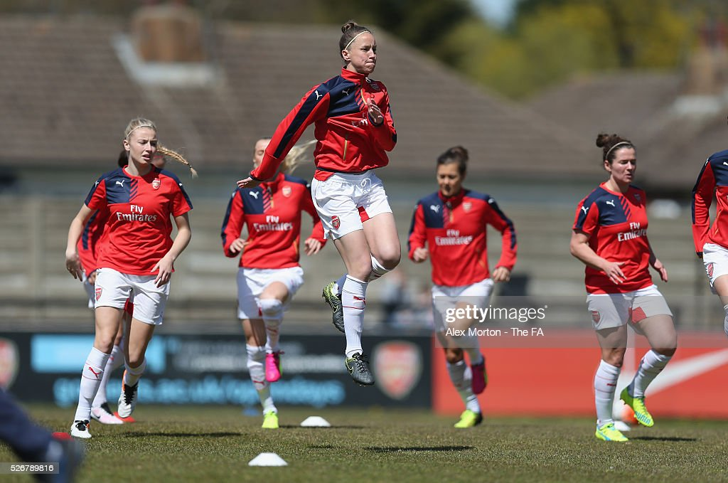 <a gi-track='captionPersonalityLinkClicked' href=/galleries/search?phrase=Casey+Stoney&family=editorial&specificpeople=2357476 ng-click='$event.stopPropagation()'>Casey Stoney</a> of Arsenal warms up prior to the WSL match between Arsenal Ladies and Birmingham City Ladies at Meadow Park on May 1, 2016 in Borehamwood, England.