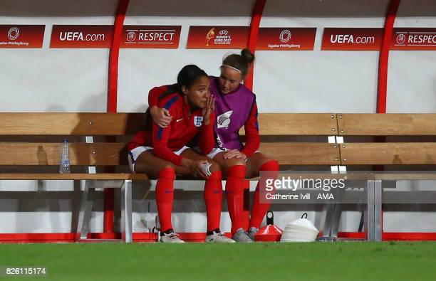 Casey Stoney of England Women consoles an upset Alex Scott after the UEFA Women's Euro 2017 semi final match between Netherlands and England at De...