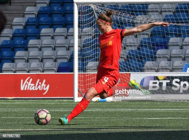 Casey Stoney of Liverpool Ladies in action during the Liverpool Ladies v Notts County Ladies SSE FA Women's Cup game at Select Security Stadium on...