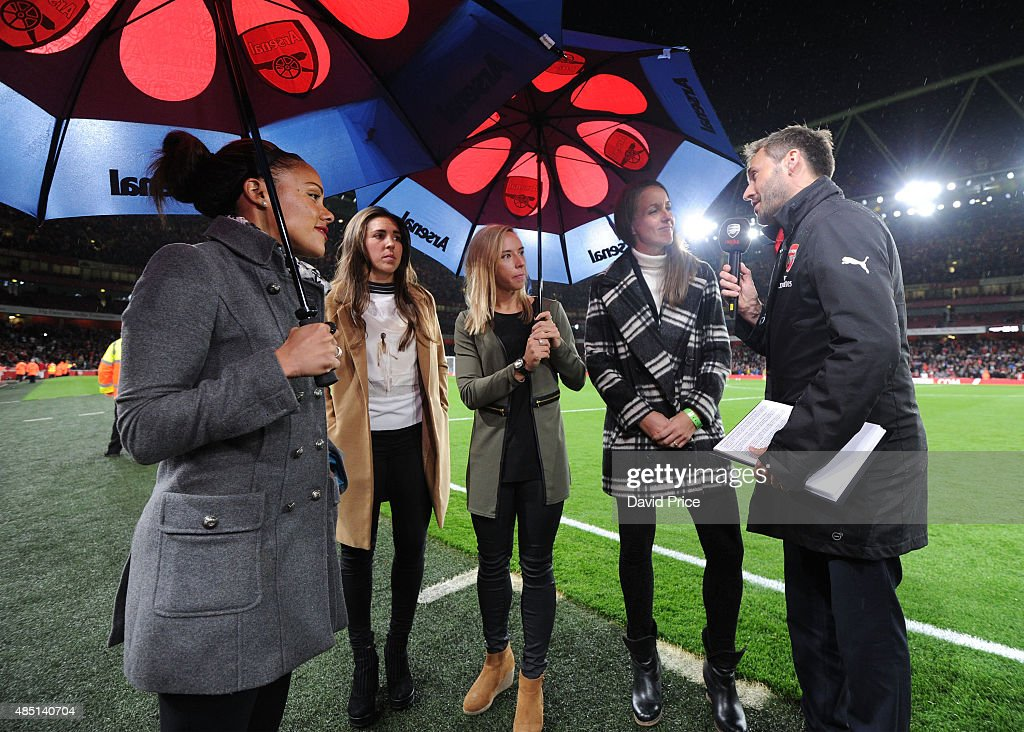 Casey Stoney of the Arsenal Ladies is interviewed by Nigel Mitchell as jordan Nobbs and Alex Scott of Arsenal Ladies and Fara Williams of Liverpool...